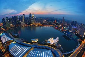 Singapore city skyline and Marina Bay at night, Republic of Singapore