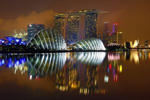 Singapore city skyline and Marina Bay Sands Hotel and Gardens