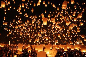 Sky Lanterns at Yee Peng Sansai, Loy Krathong, Floating Lantern Ceremony, Mae Jo