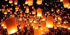 Sky Lanterns at Yee Peng Sansai, Loy Krathong, Floating Lantern Ceremony, Chiang Mai