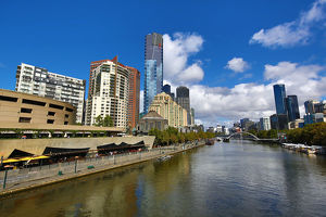 Skyline of the Southbank Promenade and the River Yarra, Melbourne, Victoria, Australia