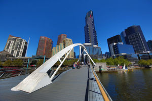 Southbank Pedestrian Bridge over the River Yarra and the Eureka Tower, Melbourne