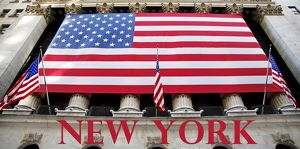 Souvenir of New York, Stars and Stripes American Flag on Stock Exchange, Wall Street