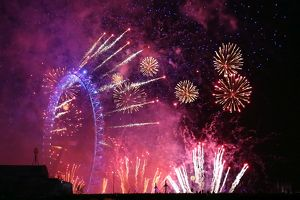 Spectacular New Year's Eve Fireworks and London Eye, London