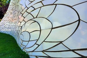 Spiral ceramic art installation in the Parc de L'Estacio del Nord park in Barcelona