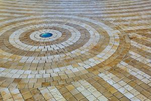Spiral design floor tiles in Glories, Barcelona, Spain