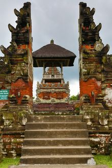 Split gate at the Royal Temple of Mengwi, Pura Taman Ayun, Bali, Indonesia