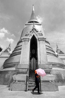 Spot colour pink umbrella at Phra Siratana Gold Chedi at Wat Phra Kaew, Bangkok, Thailand