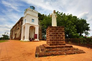 St. Paul's Church and statue on St. Paul's Hill in Malacca, Malaysia