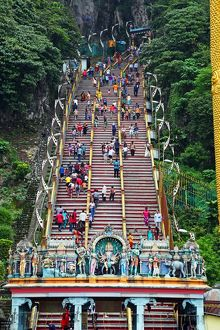 Stairs leading up to the Batu Caves, a Hindu shrine in Kuala Lumpur, Malaysia