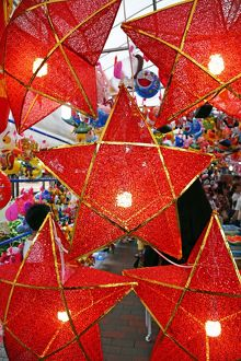 Star shaped red lanterns in a street market in Chinatown in Singapore, Republic of