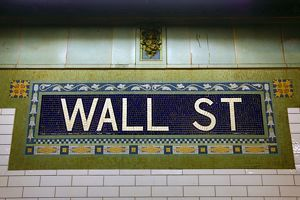 Station sign at the Wall Street Subway station, New York. America