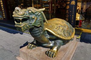 Statue of a Dragon Tortoise in the Old City, Shanghai, China
