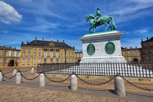 Statue of King Frederik V at the Amalienborg Palace in Amalienborg Sqaure in Copenhagen