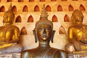 Statues of Buddha at Wat Si Saket Buddhist Temple, Vientiane, Laos