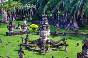 Statues of Buddhas at the Buddha Park, Vientiane, Laos
