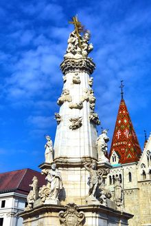 Statues on the Holy Trinity Column in Budapest, Hungary