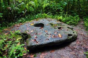 Stone money rock formation, Carp Island, Republic of Palau, Micronesia, Pacific Ocean