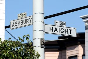Street sign for Ashbury and Haight streets, San Francisco