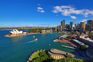 Sydney city skyline, harbour and the Opera House, Sydney, New South Wales, Australia