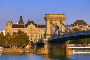 The Szechenyi Chain Bridge over the River Danube in Budapest, Hungary