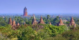 Temples and pagodas and the Bagan Viewing Tower on the Central Plain of Bagan, Myanmar