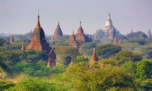 Temples and pagodas on the Central Plain of Bagan, Myanmar (Burma)