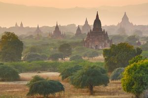 Temples and pagodas in most at sunset in Bagan, Myanmar (Burma)