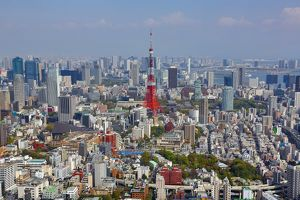 Tokyo Tower and the city skyline in Tokyo, Japan