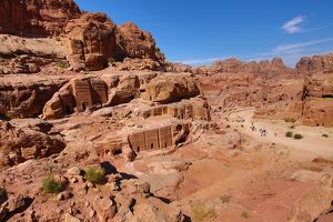 Tombs in sandstone rocks around the valley in the rock city of Petra, Jordan