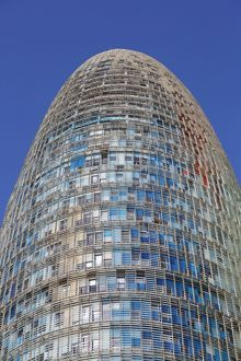 Torre Agbar modern tower office building in Glories, Barcelona, Spain