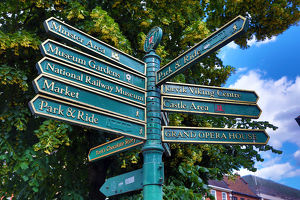 Tourist information signpost in York, Yorkshire, England