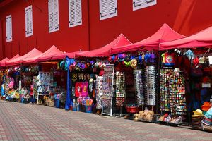 Tourist souvenir shops in Dutch Square, known as Red Square, in Malacca, Malaysia