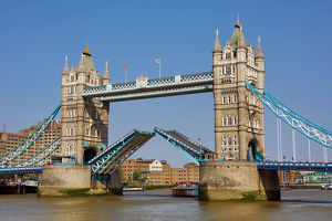 tower bridge raised on the river thames london