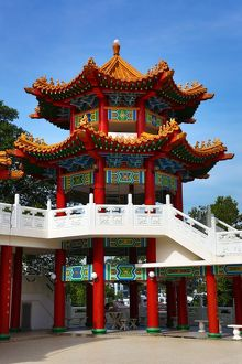 Tower and roof decorations on the Thean Hou Chinese Temple, Kuala Lumpur, Malaysia