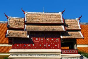 Traditional roof of building at Wat Phra Singh Temple in Chiang Mai, Thailand