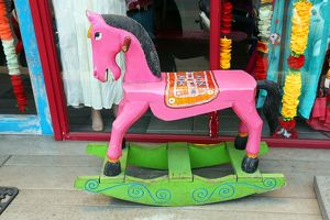 Traditional Thai pink rocking horse in Chiang Mai, Thailand