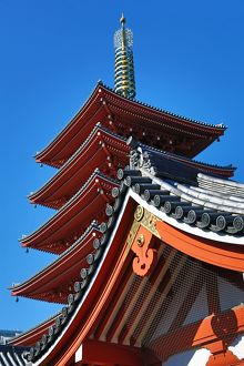 Traditional wooden roof and pagoda at the Shinto Shrine at Senso-Ji Bhuddist Temple