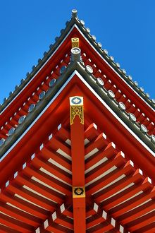 Traditional wooden roof at the Shinto Shrine at Senso-Ji Bhuddist Temple in Asakusa in Tokyo