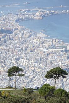 Trapani seen from Erice, Sicily, Italy