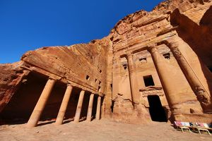 The Urn Tomb of the Royal Tombs in the rock city of Petra, Jordan