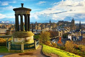 View from Calton Hill of the Dugald Stewart Monument, Edinburgh