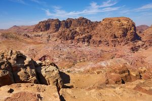 View of sandstone rock formations overlooking the valley of the rock city of Petra