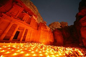 View of the Treasury, Al-Khazneh, at night with candles, Petra, Jordan