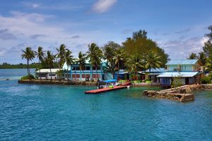 Waterfront houses in Koror, Koror Island, Republic of Palau, Micronesia, Pacific Ocean