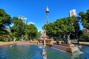 The Westfield Sydney Tower and a Hyde Park fountain, Sydney, New South Wales, Australia