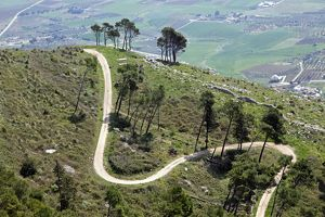 Winding mountain road leading up to Erice, Sicily, Italy