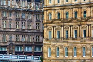 Windows of classic old building on North Bridge in Edinburgh, Scotland, United Kingdom