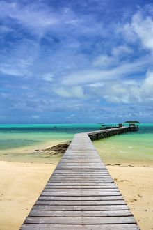 Wooden jetty, Carp Island, Republic of Palau, Micronesia, Pacific Ocean