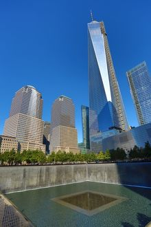 One World Trade Center ( 1 WTC ) building and the National September 11 Memorial for 9/11, New York